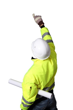 Building Worker with plan roll Stock Photo - 12188173