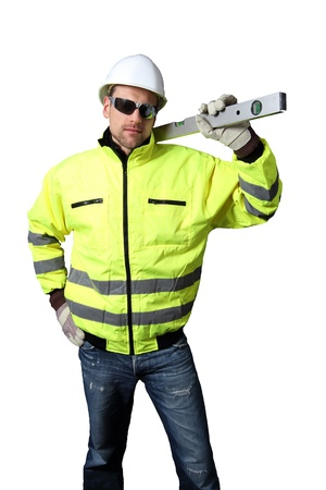 Building Worker with level Stock Photo - 12054697