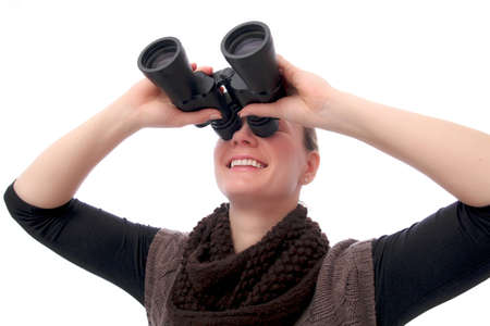 Blond Woman with Binoculars sight up photo
