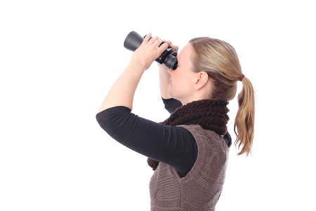 Blond Woman with Binoculars from side photo
