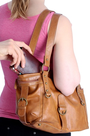 Pickpocketing a wallet out of a handbag of a woman Stock Photo - 12545343