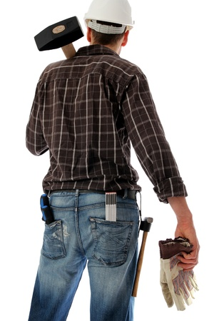 tools belt: Construction worker with sledge hammer on sholer and gloves