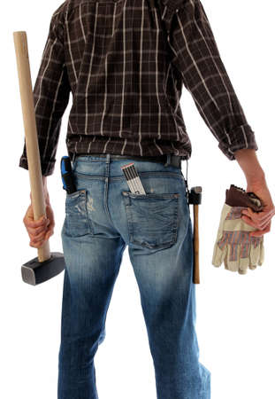 Construction worker with sledge hammer and gloves from back Stock Photo - 12545489
