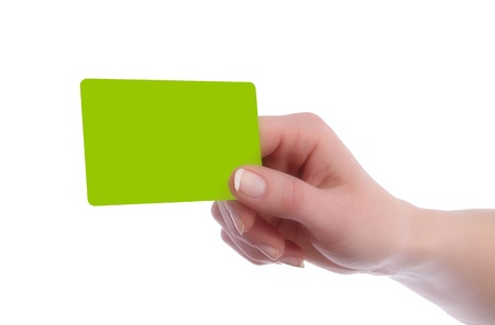 hand business card: Card in format of Credit Card in Hand of a woman Stock Photo