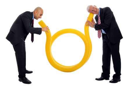 Business Communication  with a yellow tube and two men Stock Photo