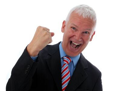 Senior Businessman crazy and happy with fist photo