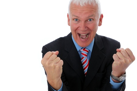 Senior Businessman crazy and happy with two fists Stock Photo - 12867473