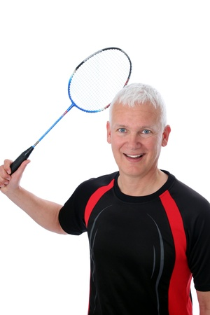 Grey active Senior with badminton racket over head