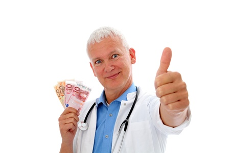 Smiling Doctor with money, stethoscope and thump up photo