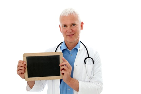 Doctor holding a  black board in front of his chest photo