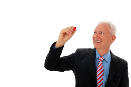 Businessman writing in air with red pen Standard-Bild
