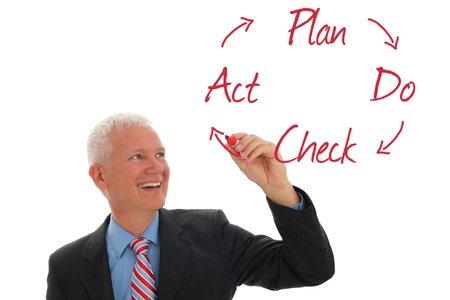 Businessman writing QM Circle Plan Do Check Act photo