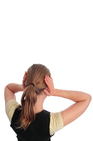 noise pollution: Woman blocking her ears _ isolated with white background Stock Photo