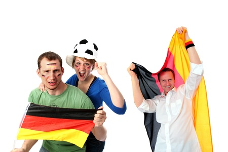 football party: Group of 3 soccer fans Stock Photo