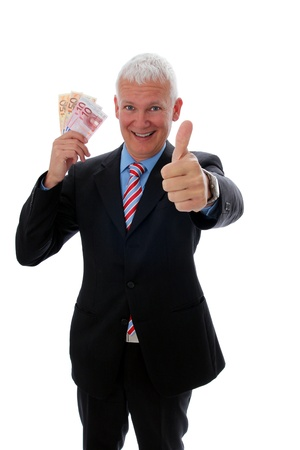 pay raise: Senior Businessman with thumb up and euro bills Stock Photo