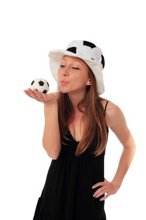 european championship: A young woman is kissing a little football