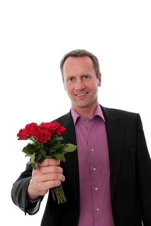 Man giving red roses photo