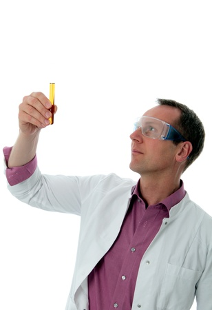 test glass: Chemist in white cote looking on test glass Stock Photo