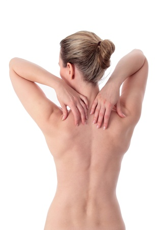 espalda: Mujer rubia con las dos manos en el hombro