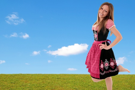 high spirited: Bavarian girl outdoor