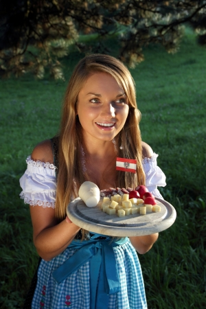 Austrian Woman with typicall snack Stock Photo - 15238236