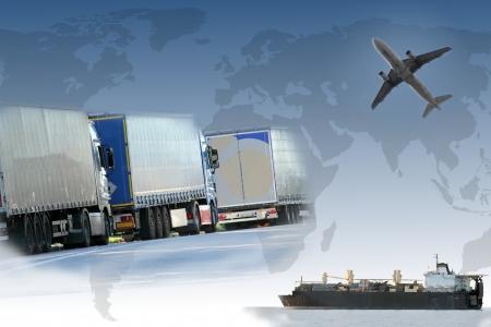 export and import: Collage del comercio mundial Foto de archivo