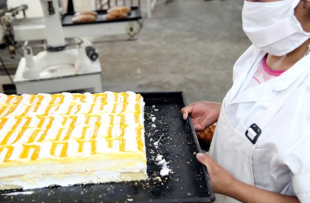 Yellow white cake in a Pastry