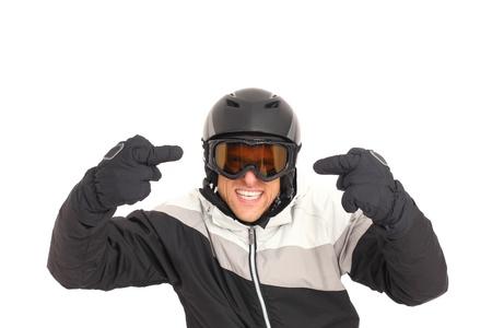 aggressively: Sciatore arrabbiato e aggressivo isolato su bianco Archivio Fotografico