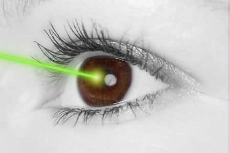 Eye with laser beam