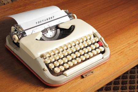 inheritance: Old typewriter with Testament