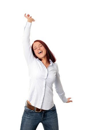Happy crazy young woman jumping Standard-Bild - 121545830