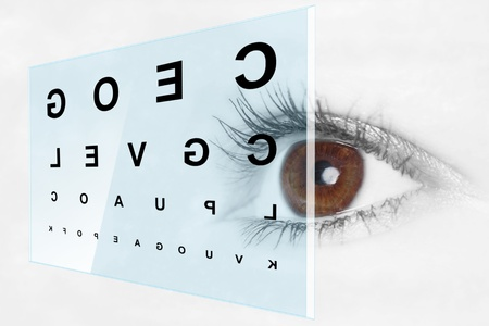 farsighted: Eye test at the optometrist Stock Photo