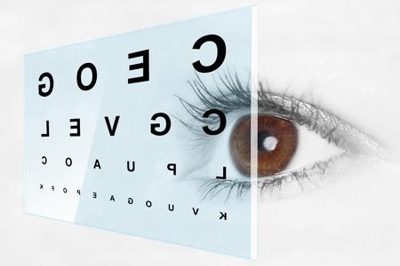 Eye test at the optometrist Stockfoto