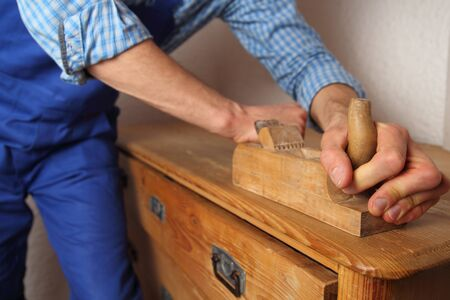furniture detail: Renovation of ol furniture with a plane