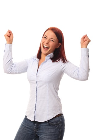 multiple stains: Young woman happy