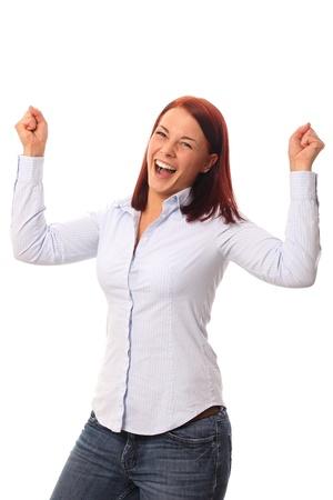 armpit hair: Young woman happy