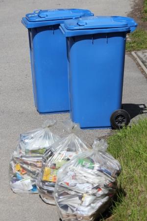 separacion de basura: Cubos de basura y bolsas