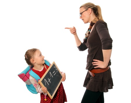 teacher scold the child student Stock Photo