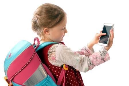I bambini con lo smartphone Archivio Fotografico