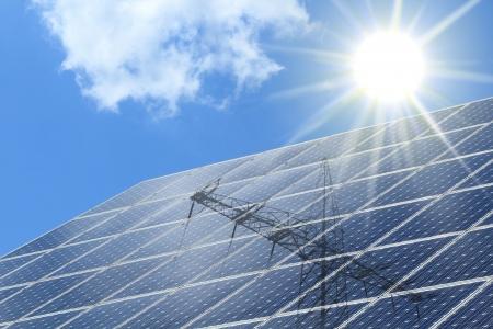 radiacion solar: Las células solares con la radiación del sol y ot poste de energía