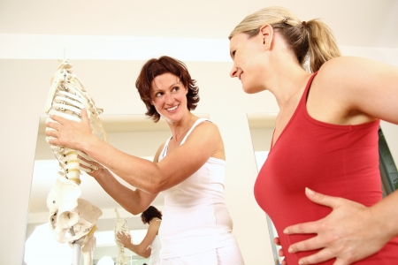 musculoskeletal: Professional physiotherapist explaining the thorax