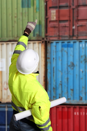 Worker on a Container Terminal photo