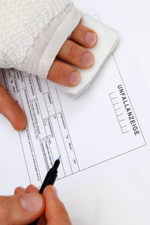 existential: Fill out a accident report with injured handFill out a accident report with injured hand