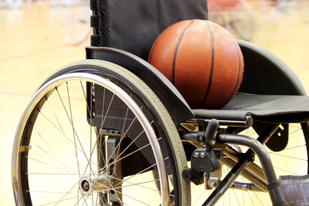 Basketball on a wheelchair basketball game Banco de Imagens