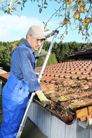 A Gardener cleaning a rain gutter from leaves Stock Photo