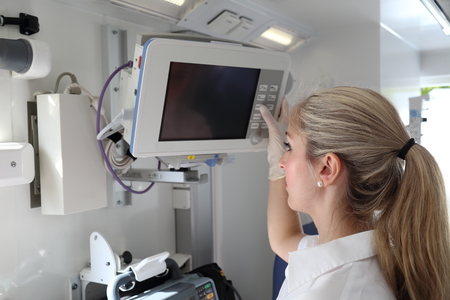 A Patient Monitor in  emergency Ambulance car