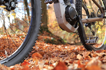 electric motor: A Closeup of E-Mountain Bike with motor and gearbox