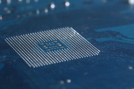 A CPU Motherboard Chip socket solder balls Stock Photo