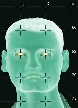 Digitale Gesichtserkennung mit biometrischen Daten Standard-Bild - 91184831