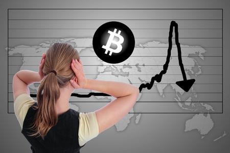 Eine Frau in Panik Bitcoin Crash Bubble Chart Standard-Bild - 92036516